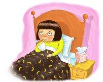 bed girl sick