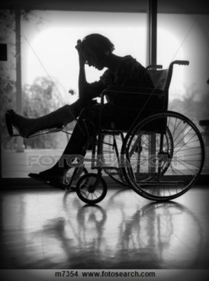depressed woman in wheelchair