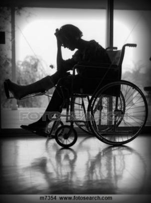 depressed woman in wheelchair