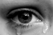 tear filled eye