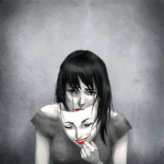depressed girl with happy mask