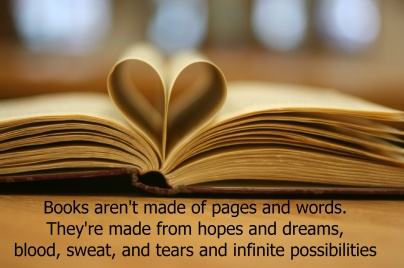 Books made from blood, sweat, and tears ]