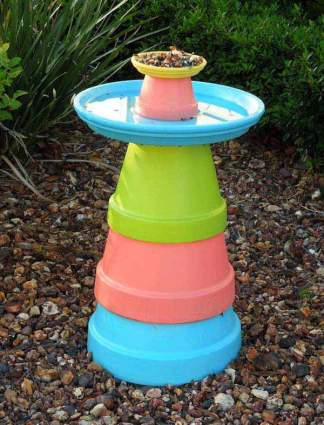 colorful-diy-clay-flower-pot-bird-bath